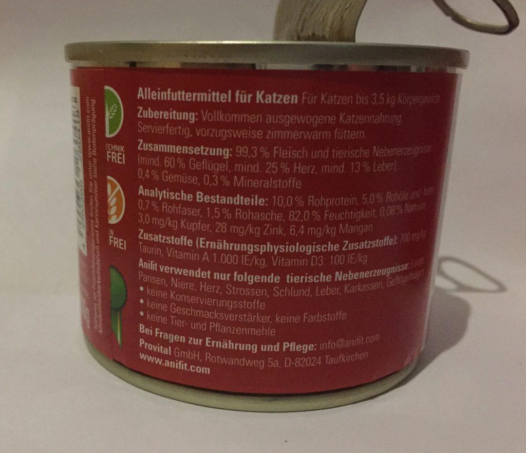 anifit katzenfutter rückseite dose