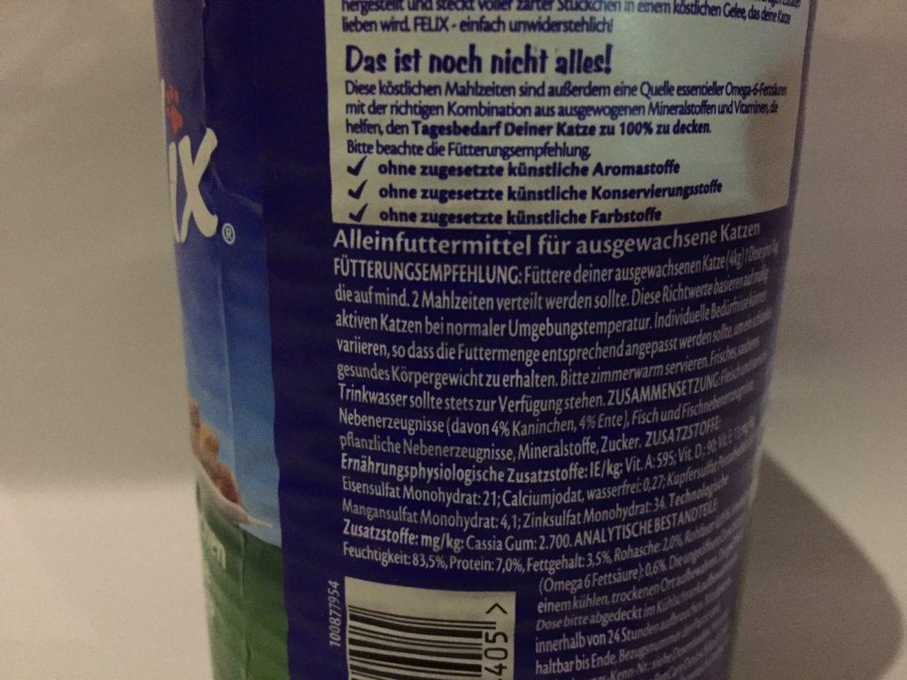 katzenfutter inhaltsstoffe